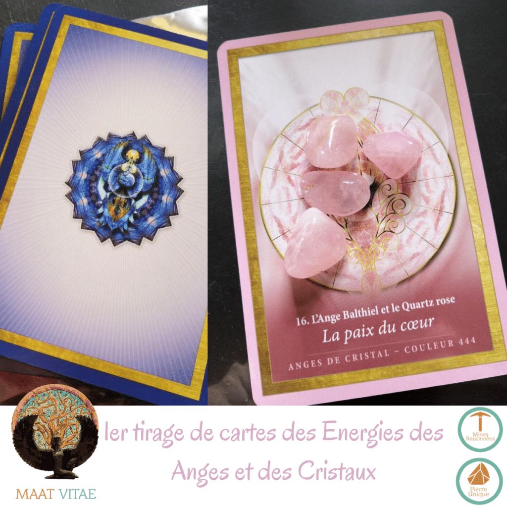 Premier tirage de cartes anges et cristaux : la Paix du Coeur - Quartz Rose et Ange Balthiel